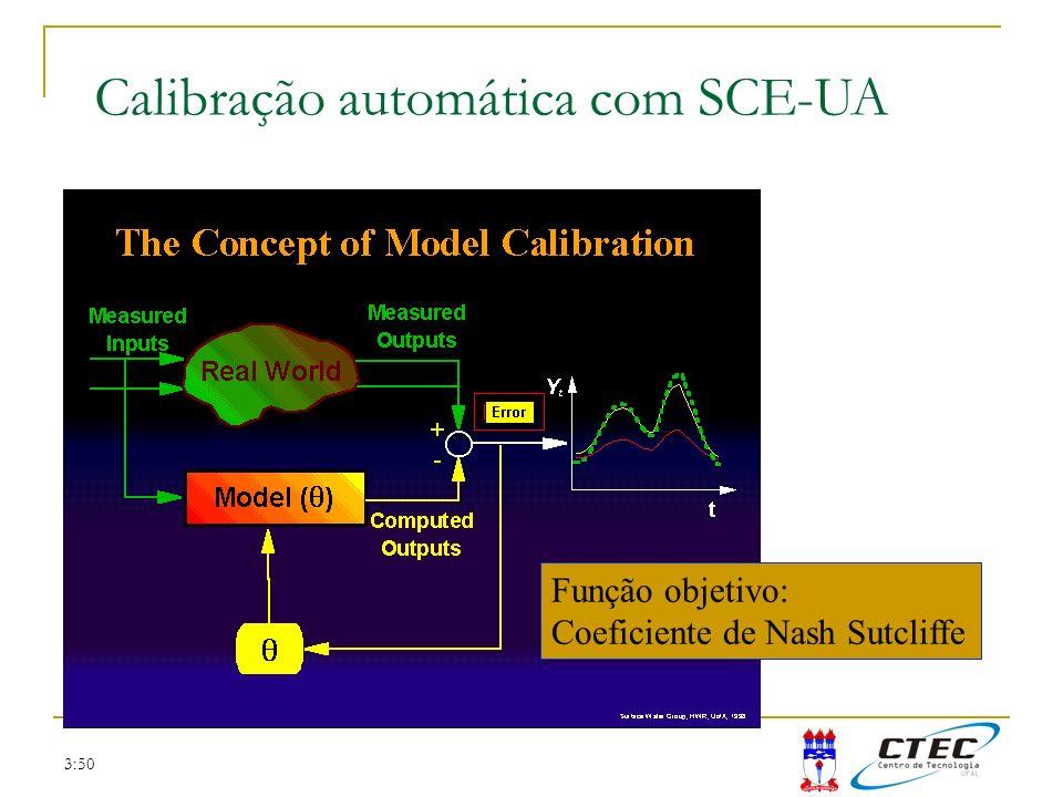 3:50 Calibração automática com SCE-UA Função objetivo: Coeficiente de Nash Sutcliffe