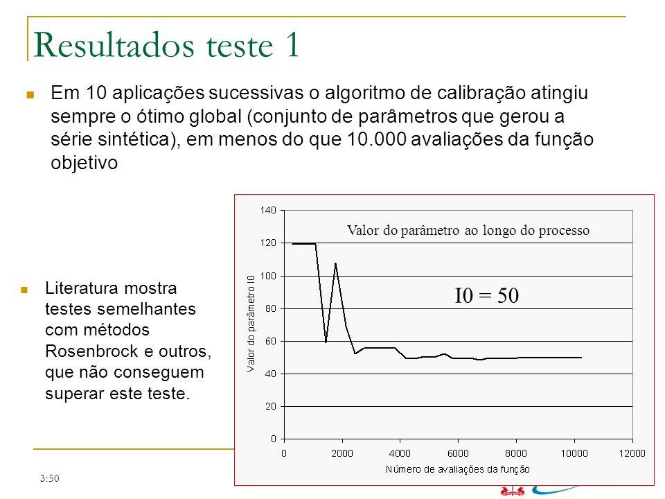 3:50 Resultados teste 1 I0 = 50 Em 10 aplicações sucessivas o algoritmo de calibração atingiu sempre o ótimo global (conjunto de parâmetros que gerou