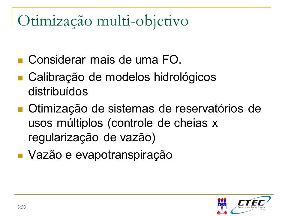 3:50 Otimização multi-objetivo Considerar mais de uma FO. Calibração de modelos hidrológicos distribuídos Otimização de sistemas de reservatórios de u