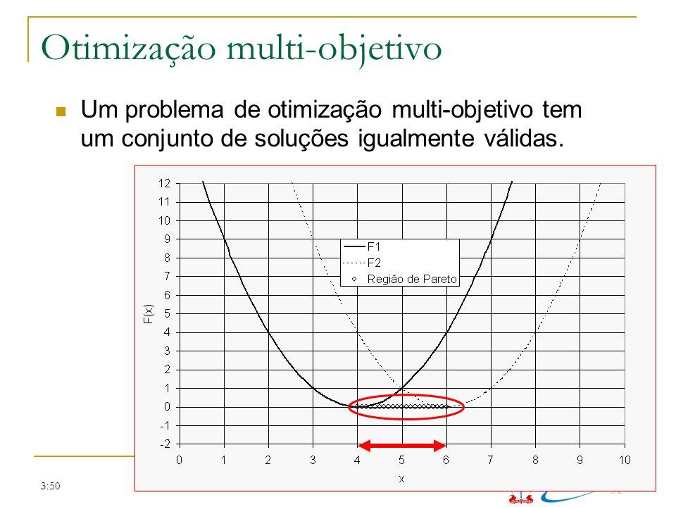 3:50 Otimização multi-objetivo Um problema de otimização multi-objetivo tem um conjunto de soluções igualmente válidas.