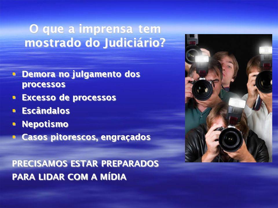 O que a imprensa tem mostrado do Judiciário? Demora no julgamento dos processos Demora no julgamento dos processos Excesso de processos Excesso de pro