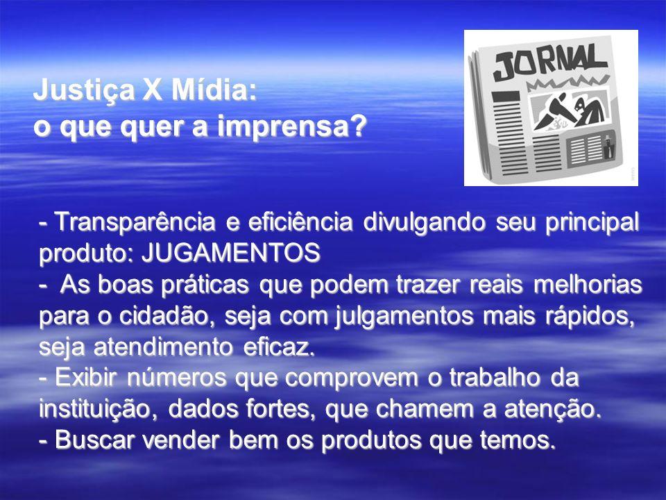 Justiça X Mídia: o que quer a imprensa? - Transparência e eficiência divulgando seu principal produto: JUGAMENTOS - As boas práticas que podem trazer