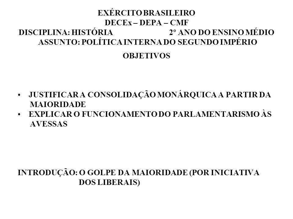 EXÉRCITO BRASILEIRO DECEx – DEPA – CMF DISCIPLINA: HISTÓRIA 2º ANO DO ENSINO MÉDIO ASSUNTO: POLÍTICA INTERNA DO SEGUNDO IMPÉRIO OBJETIVOS JUSTIFICAR A