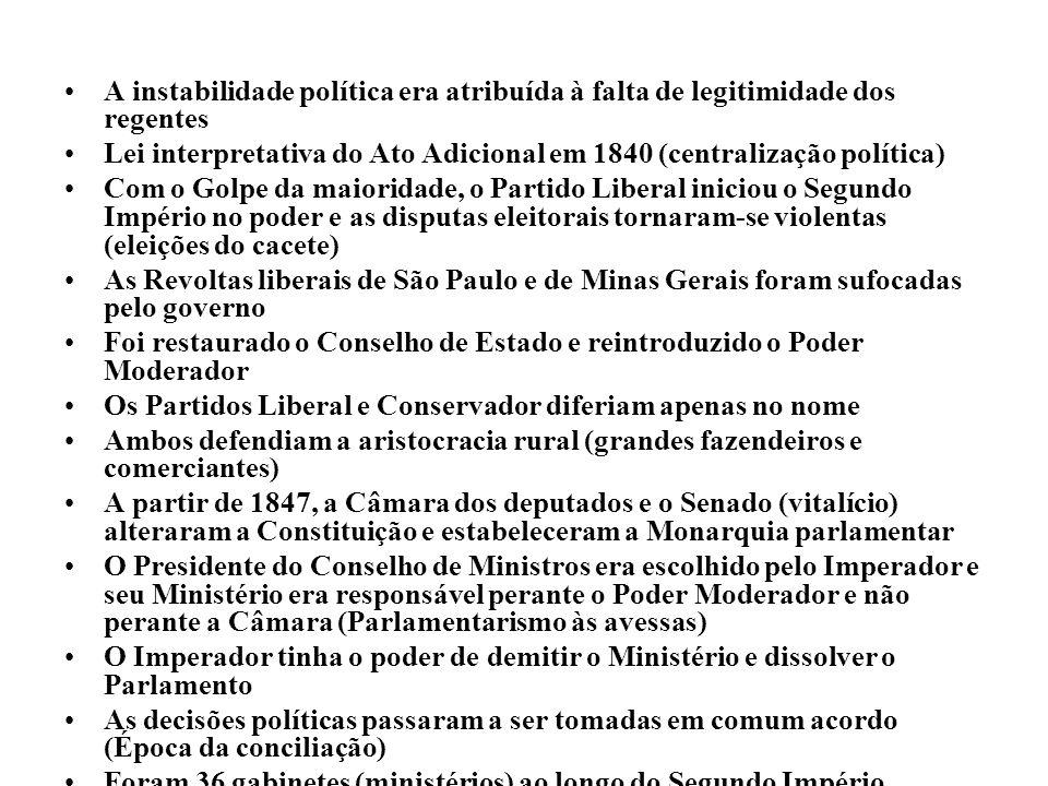 A instabilidade política era atribuída à falta de legitimidade dos regentes Lei interpretativa do Ato Adicional em 1840 (centralização política) Com o