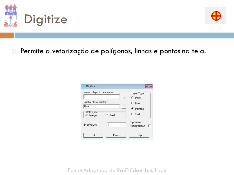 Digitize Permite a vetorização de polígonos, linhas e pontos na tela.