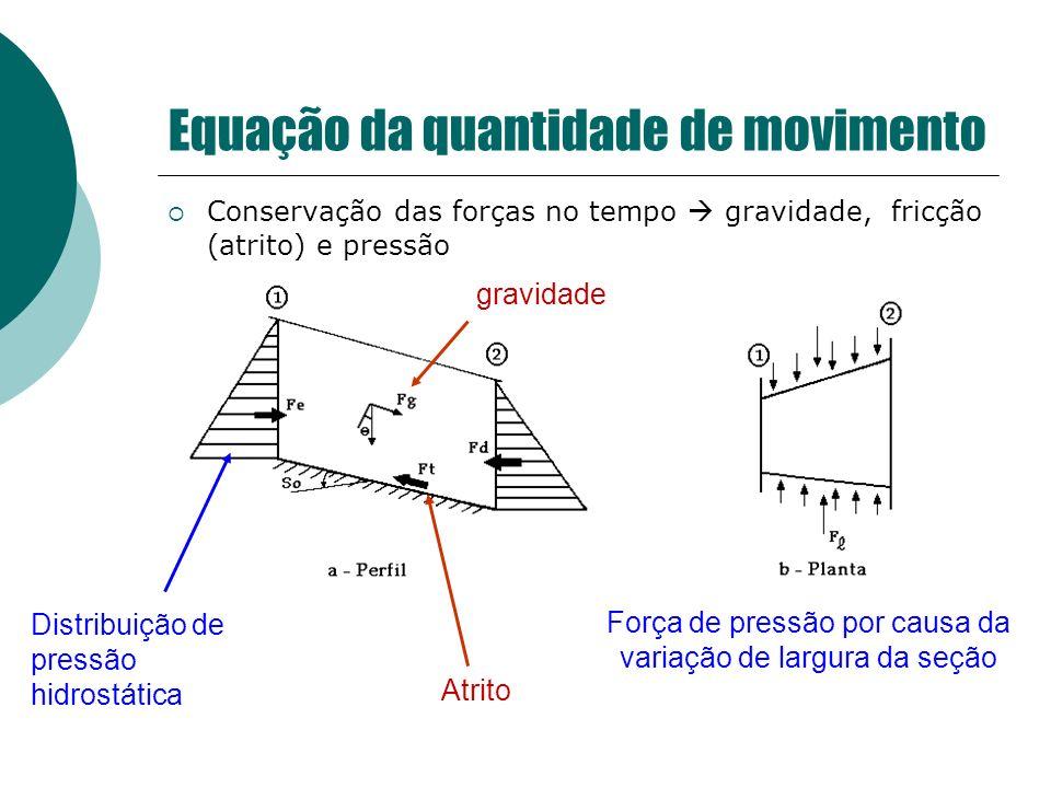 Conservação das forças no tempo gravidade, fricção (atrito) e pressão Força de pressão por causa da variação de largura da seção Distribuição de press