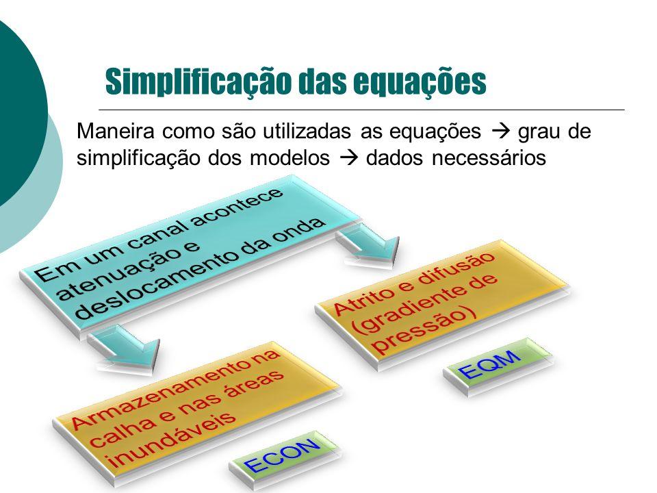 Simplificação das equações Maneira como são utilizadas as equações grau de simplificação dos modelos dados necessários