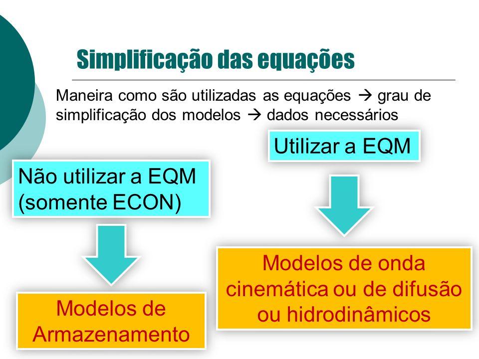 Simplificação das equações Maneira como são utilizadas as equações grau de simplificação dos modelos dados necessários Não utilizar a EQM (somente ECO