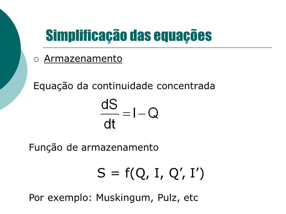 Simplificação das equações Armazenamento Equação da continuidade concentrada Função de armazenamento S = f(Q, I, Q, I) Por exemplo: Muskingum, Pulz, e