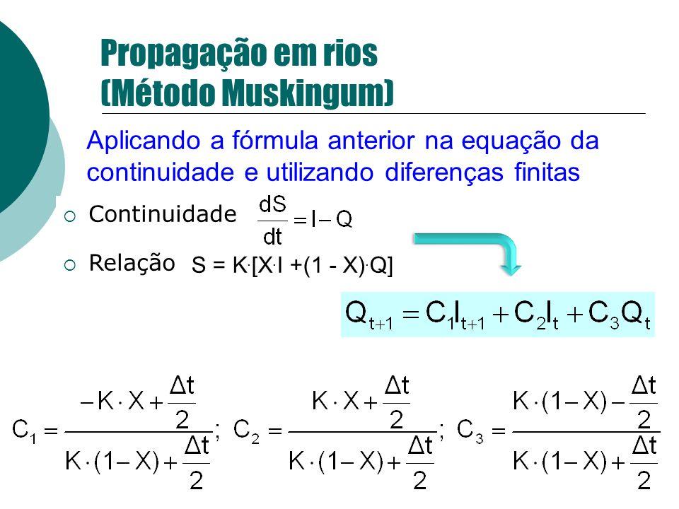 Continuidade Relação S = K. [X. I +(1 - X). Q] Propagação em rios (Método Muskingum) Aplicando a fórmula anterior na equação da continuidade e utiliza