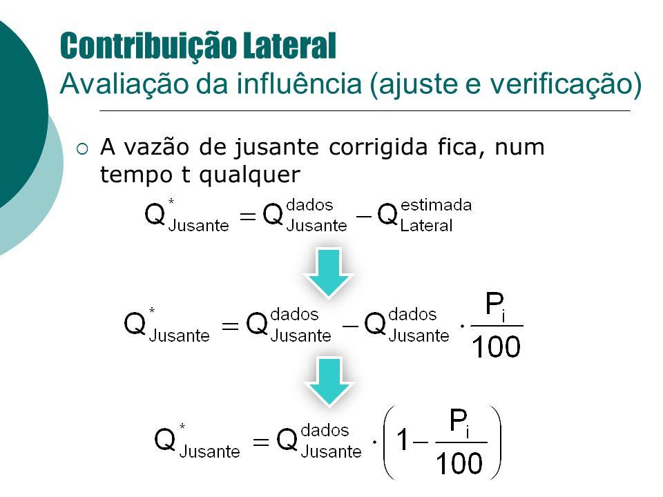 A vazão de jusante corrigida fica, num tempo t qualquer Contribuição Lateral Avaliação da influência (ajuste e verificação)