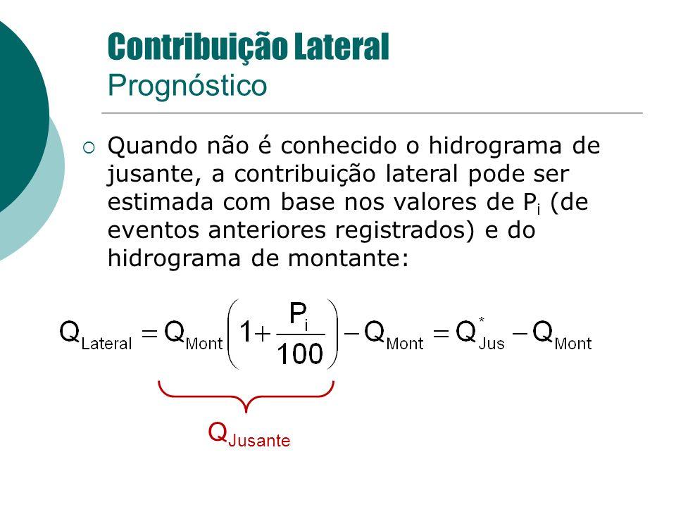 Quando não é conhecido o hidrograma de jusante, a contribuição lateral pode ser estimada com base nos valores de P i (de eventos anteriores registrado