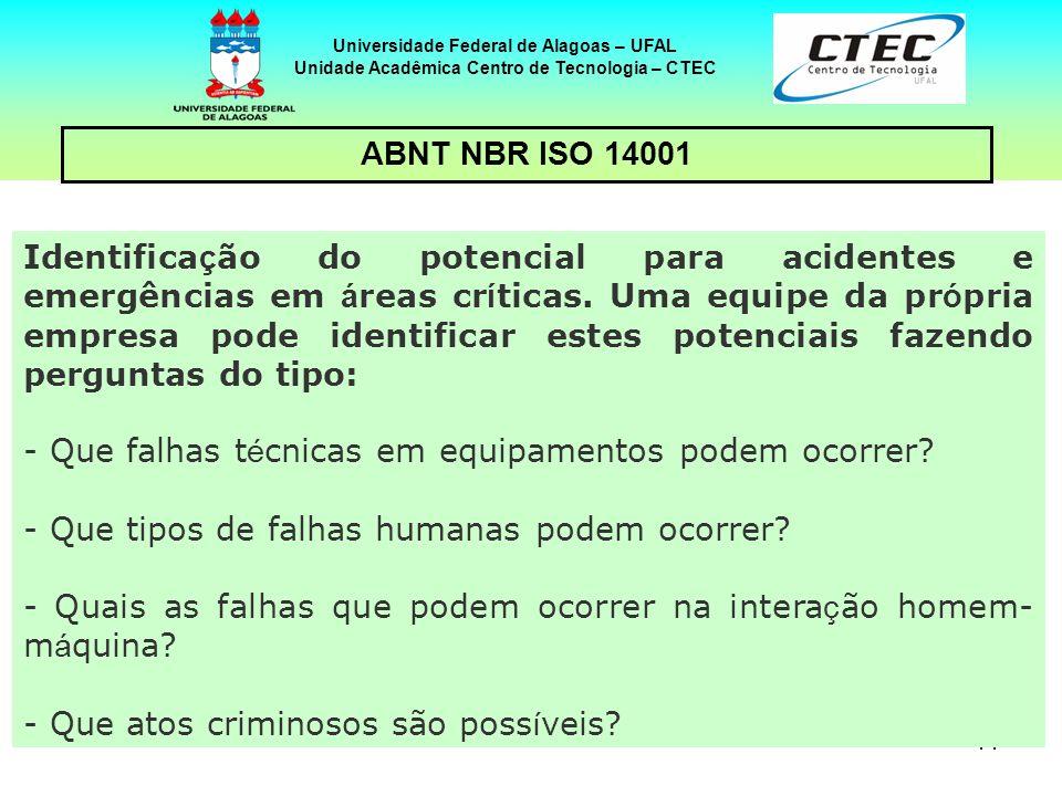 14 Universidade Federal de Alagoas – UFAL Unidade Acadêmica Centro de Tecnologia – CTEC ABNT NBR ISO 14001 Identifica ç ão do potencial para acidentes