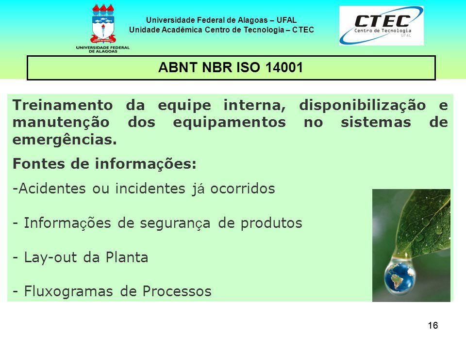 16 Universidade Federal de Alagoas – UFAL Unidade Acadêmica Centro de Tecnologia – CTEC ABNT NBR ISO 14001 Treinamento da equipe interna, disponibiliz