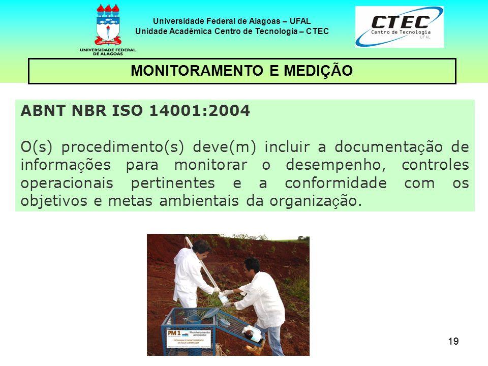 19 Universidade Federal de Alagoas – UFAL Unidade Acadêmica Centro de Tecnologia – CTEC MONITORAMENTO E MEDIÇÃO ABNT NBR ISO 14001:2004 O(s) procedime