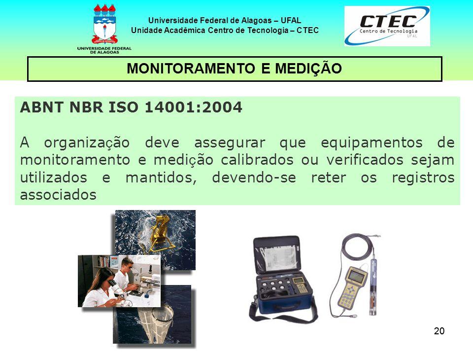 20 Universidade Federal de Alagoas – UFAL Unidade Acadêmica Centro de Tecnologia – CTEC MONITORAMENTO E MEDIÇÃO ABNT NBR ISO 14001:2004 A organiza ç ã