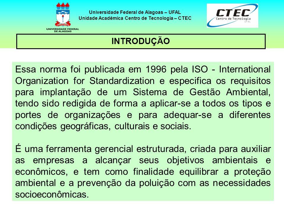 44 Universidade Federal de Alagoas – UFAL Unidade Acadêmica Centro de Tecnologia – CTEC INTRODUÇÃO Essa norma foi publicada em 1996 pela ISO - Interna