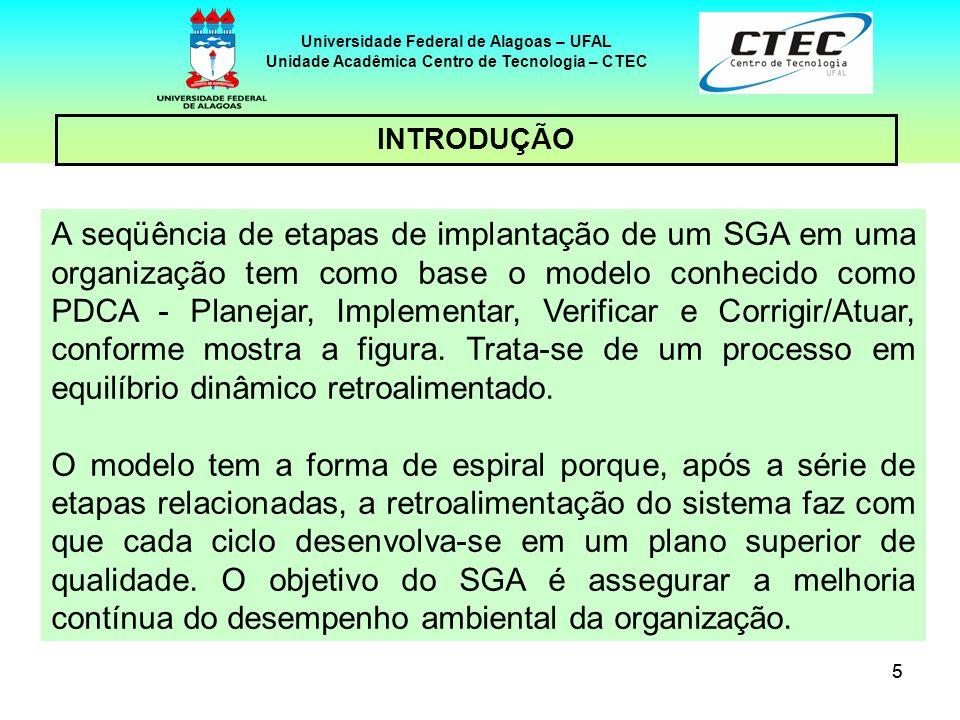 55 Universidade Federal de Alagoas – UFAL Unidade Acadêmica Centro de Tecnologia – CTEC INTRODUÇÃO A seqüência de etapas de implantação de um SGA em u