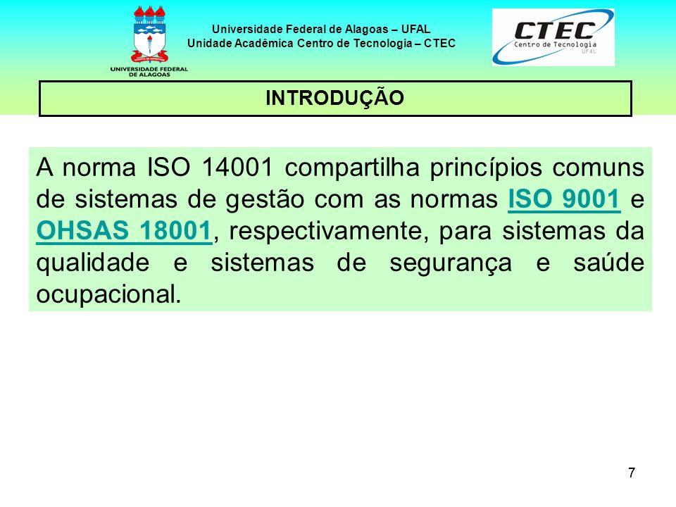 77 Universidade Federal de Alagoas – UFAL Unidade Acadêmica Centro de Tecnologia – CTEC INTRODUÇÃO A norma ISO 14001 compartilha princípios comuns de