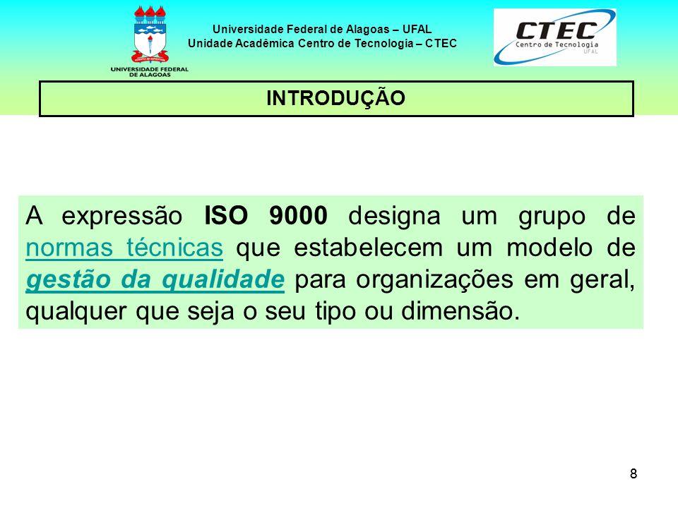 88 Universidade Federal de Alagoas – UFAL Unidade Acadêmica Centro de Tecnologia – CTEC INTRODUÇÃO A expressão ISO 9000 designa um grupo de normas téc