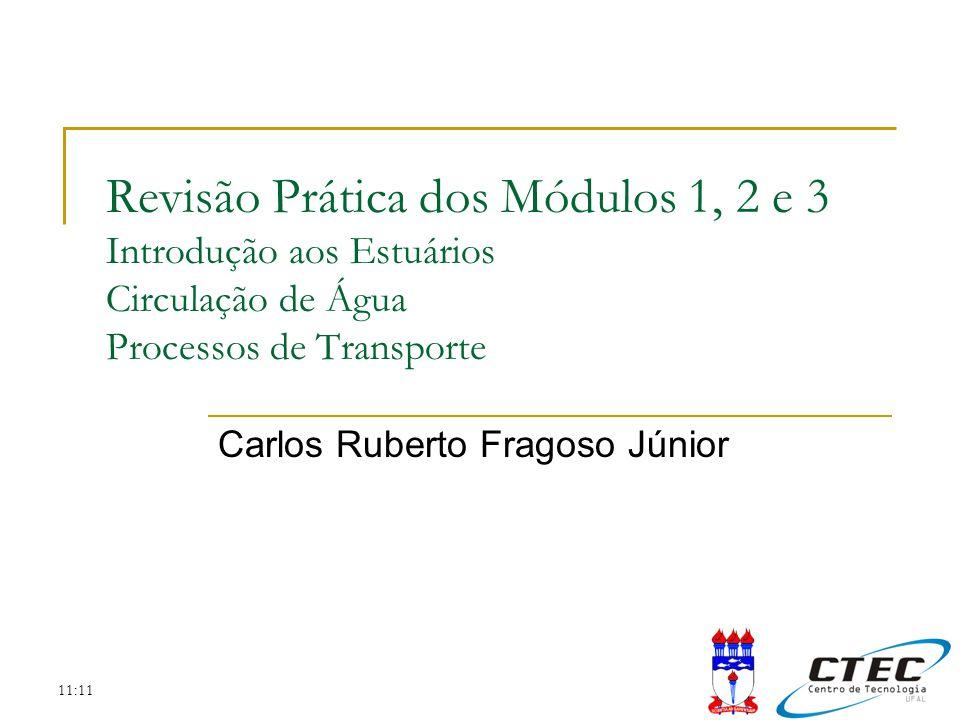 11:11 Revisão Prática dos Módulos 1, 2 e 3 Introdução aos Estuários Circulação de Água Processos de Transporte Carlos Ruberto Fragoso Júnior