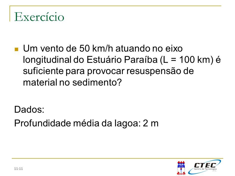 11:11 Exercício Um vento de 50 km/h atuando no eixo longitudinal do Estuário Paraíba (L = 100 km) é suficiente para provocar resuspensão de material n