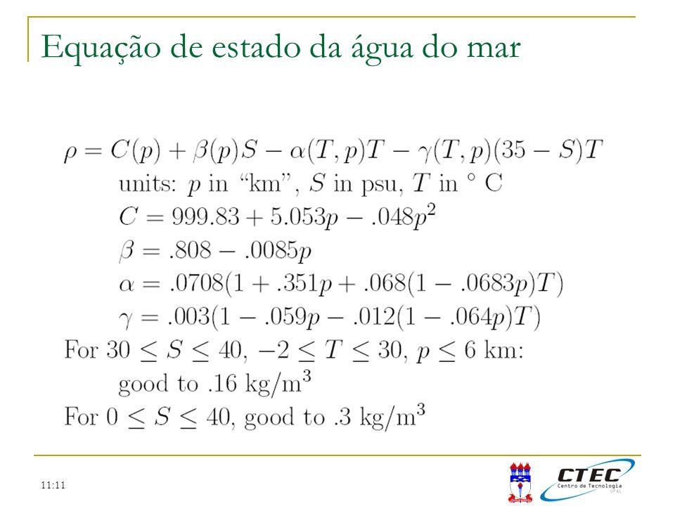 11:11 Equação de estado da água do mar