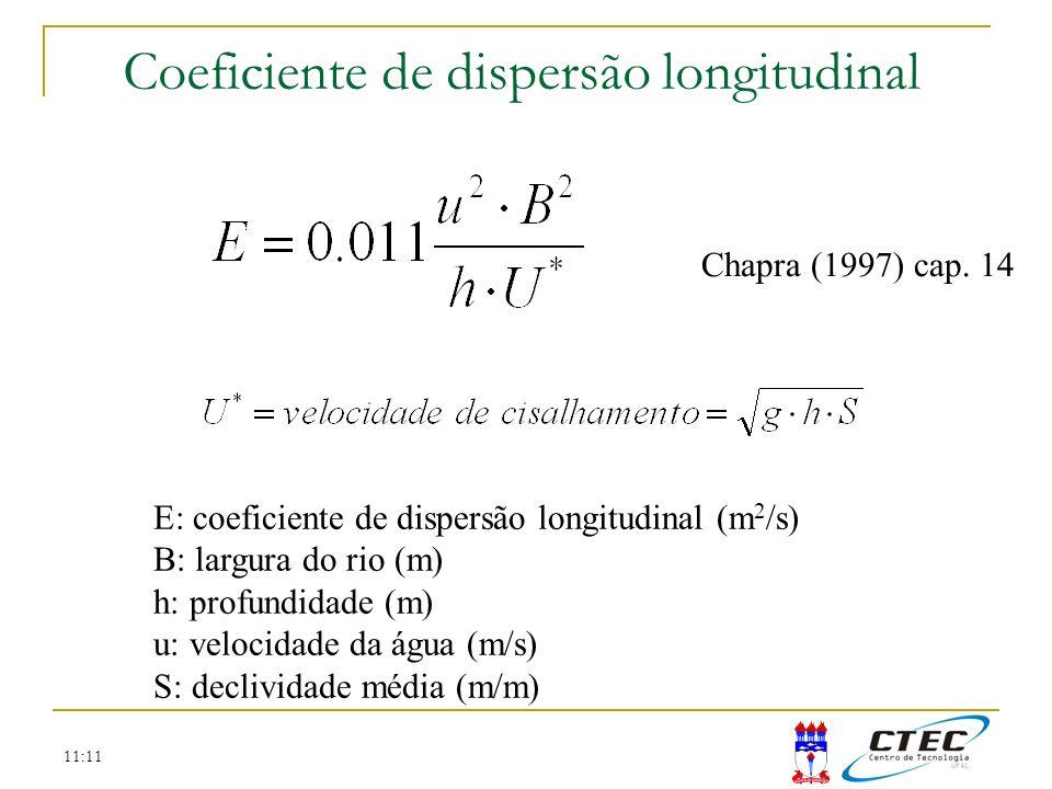 11:11 Coeficiente de dispersão longitudinal E: coeficiente de dispersão longitudinal (m 2 /s) B: largura do rio (m) h: profundidade (m) u: velocidade