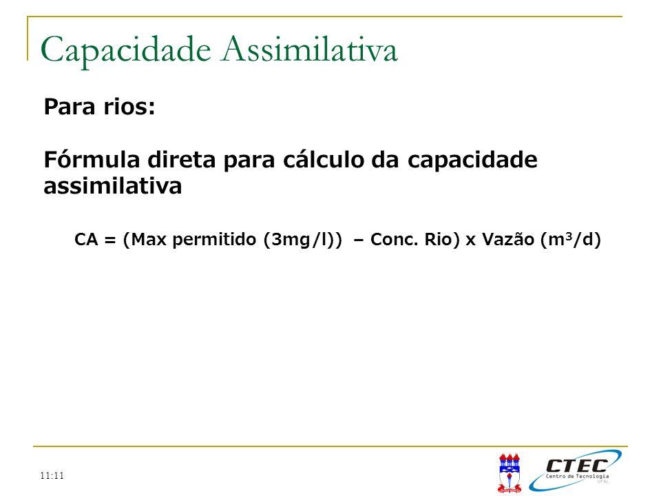 11:11 Para rios: Fórmula direta para cálculo da capacidade assimilativa CA = (Max permitido (3mg/l)) – Conc. Rio) x Vazão (m 3 /d) Capacidade Assimila