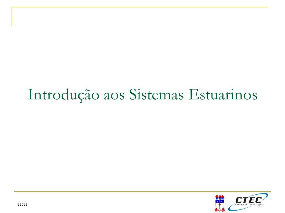 11:11 Coeficiente de troca por ciclo de maré (E): Fração da água que é removida e substituida durante cada ciclo de maré Similar ao Razão de troca por Maré (R) – visto anteriormente Razão de Prisma de Maré (Tidal Prism Ratio): Eficiência de descarga: Onde: V H = vol.