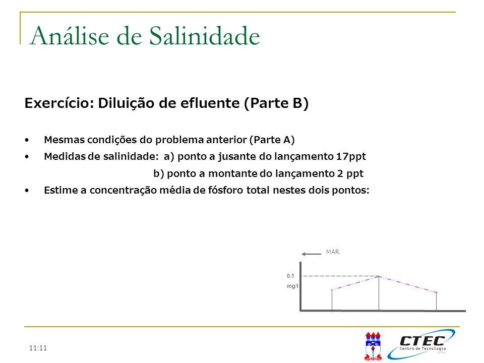 11:11 Exercício: Diluição de efluente (Parte B) Mesmas condições do problema anterior (Parte A) Medidas de salinidade: a) ponto a jusante do lançament