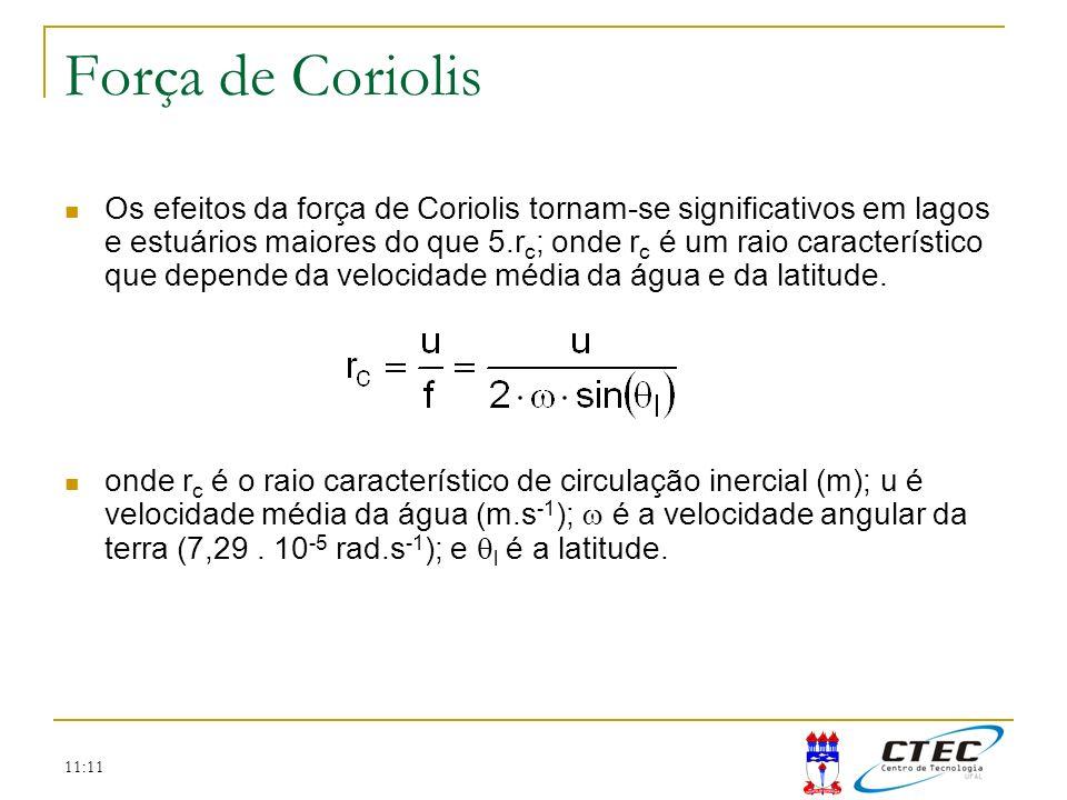 11:11 Força de Coriolis Os efeitos da força de Coriolis tornam-se significativos em lagos e estuários maiores do que 5.r c ; onde r c é um raio caract