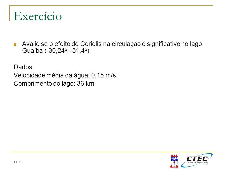 11:11 Exercício Avalie se o efeito de Coriolis na circulação é significativo no lago Guaíba (-30,24 o ; -51,4 o ). Dados: Velocidade média da água: 0,