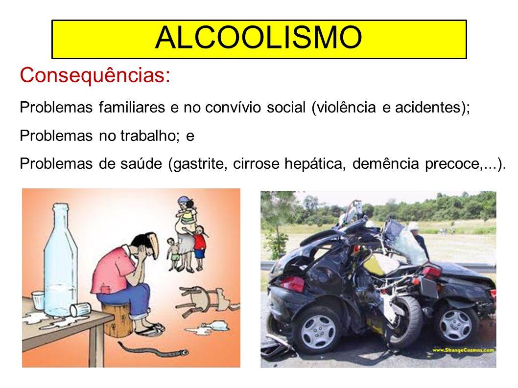 Consequências: Problemas familiares e no convívio social (violência e acidentes); Problemas no trabalho; e Problemas de saúde (gastrite, cirrose hepát