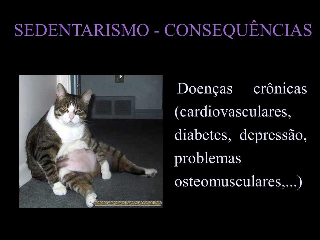 SEDENTARISMO - CONSEQUÊNCIAS Doenças crônicas (cardiovasculares, diabetes, depressão, problemas osteomusculares,...)