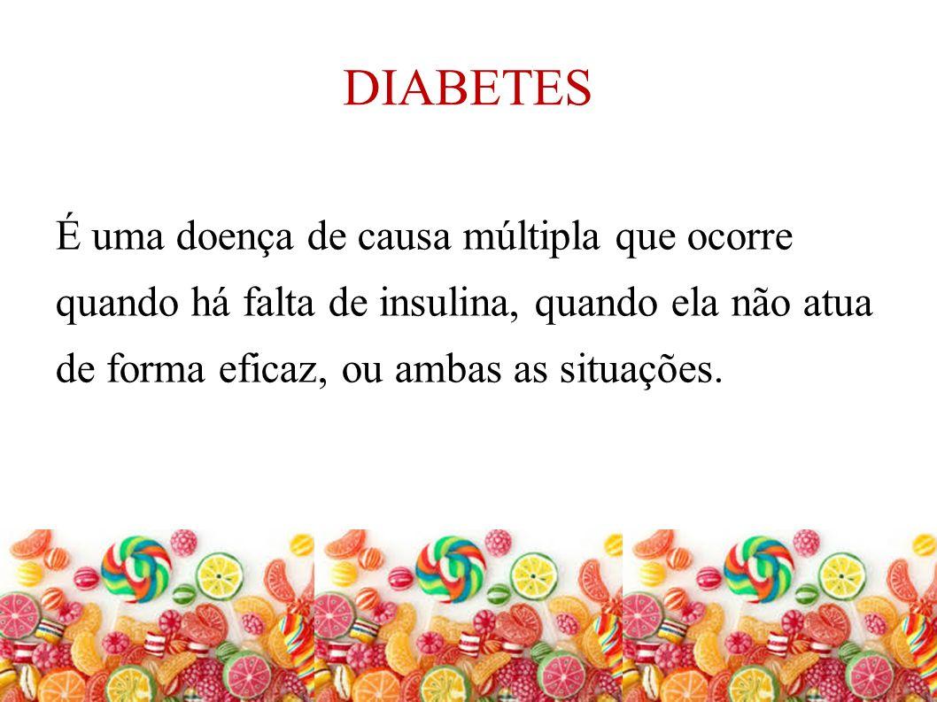 DIABETES É uma doença de causa múltipla que ocorre quando há falta de insulina, quando ela não atua de forma eficaz, ou ambas as situações.