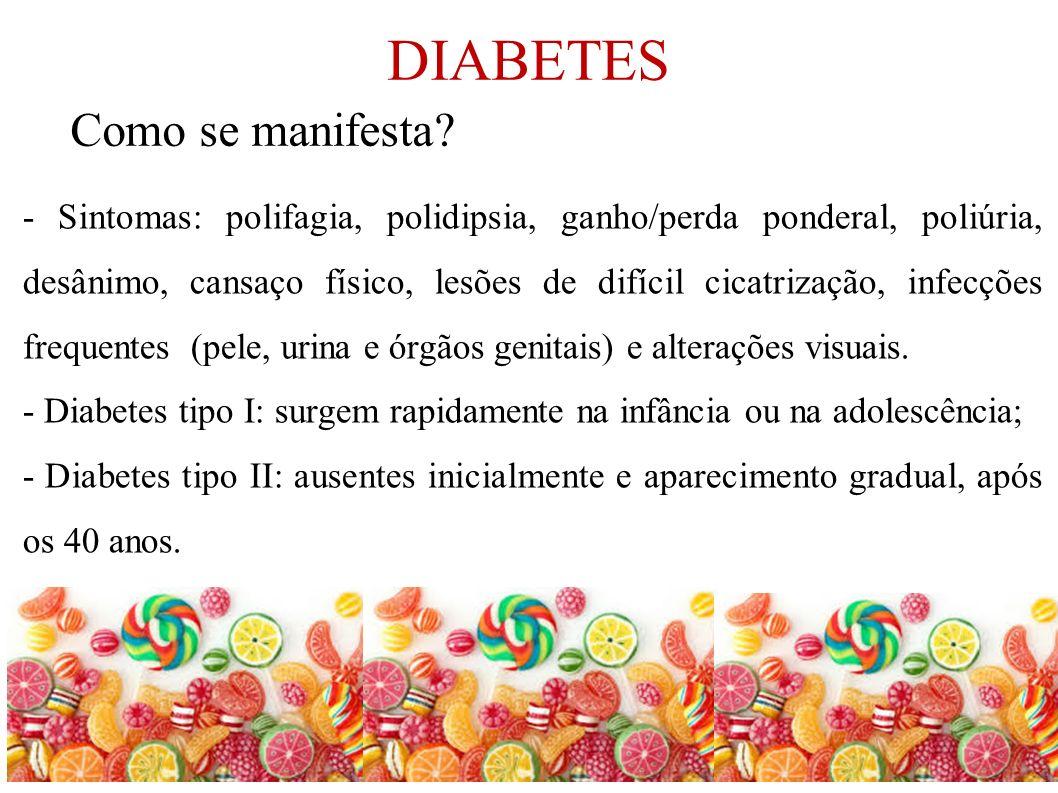 DIABETES - Sintomas: polifagia, polidipsia, ganho/perda ponderal, poliúria, desânimo, cansaço físico, lesões de difícil cicatrização, infecções freque