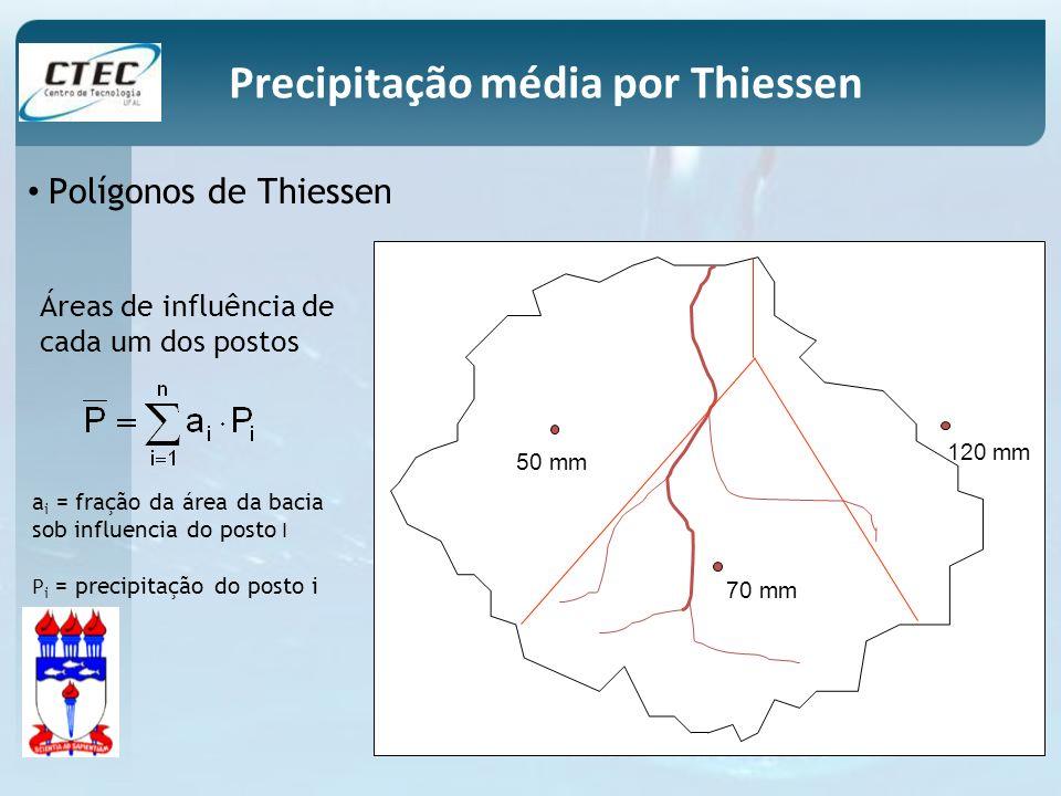Polígonos de Thiessen 50 mm 70 mm 120 mm Áreas de influência de cada um dos postos a i = fração da área da bacia sob influencia do posto I P i = preci