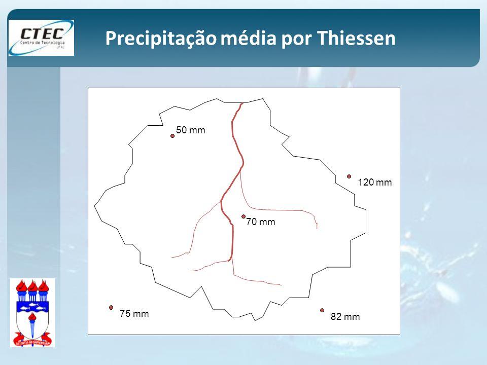 50 mm 120 mm 70 mm 82 mm 75 mm Precipitação média por Thiessen