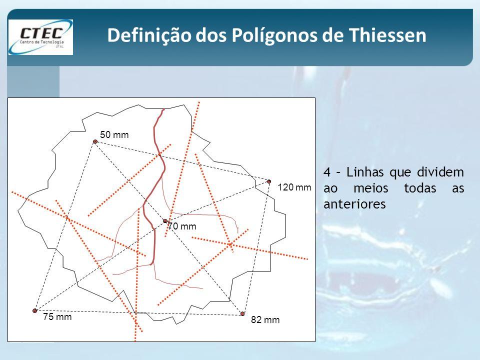 50 mm 120 mm 70 mm 75 mm 82 mm 4 – Linhas que dividem ao meios todas as anteriores Definição dos Polígonos de Thiessen
