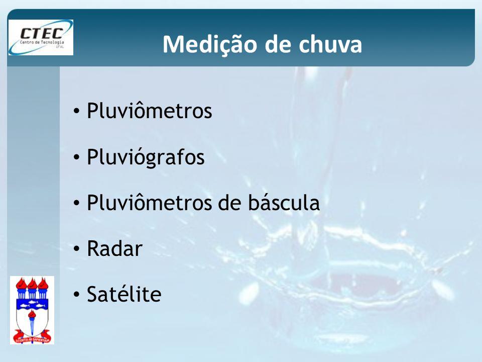 Pluviômetros Pluviógrafos Pluviômetros de báscula Radar Satélite Medição de chuva
