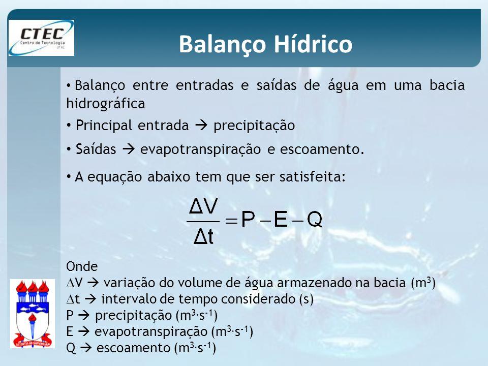 Balanço Hídrico A equação abaixo tem que ser satisfeita: Onde V variação do volume de água armazenado na bacia (m 3 ) t intervalo de tempo considerado