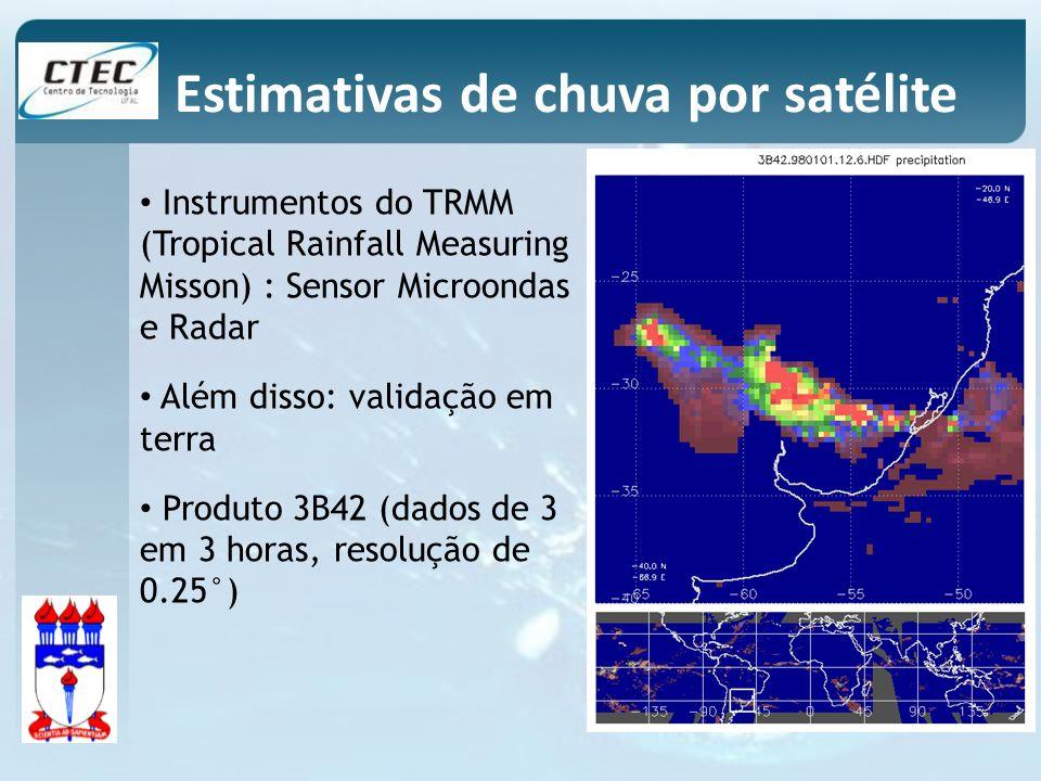 Instrumentos do TRMM (Tropical Rainfall Measuring Misson) : Sensor Microondas e Radar Além disso: validação em terra Produto 3B42 (dados de 3 em 3 hor