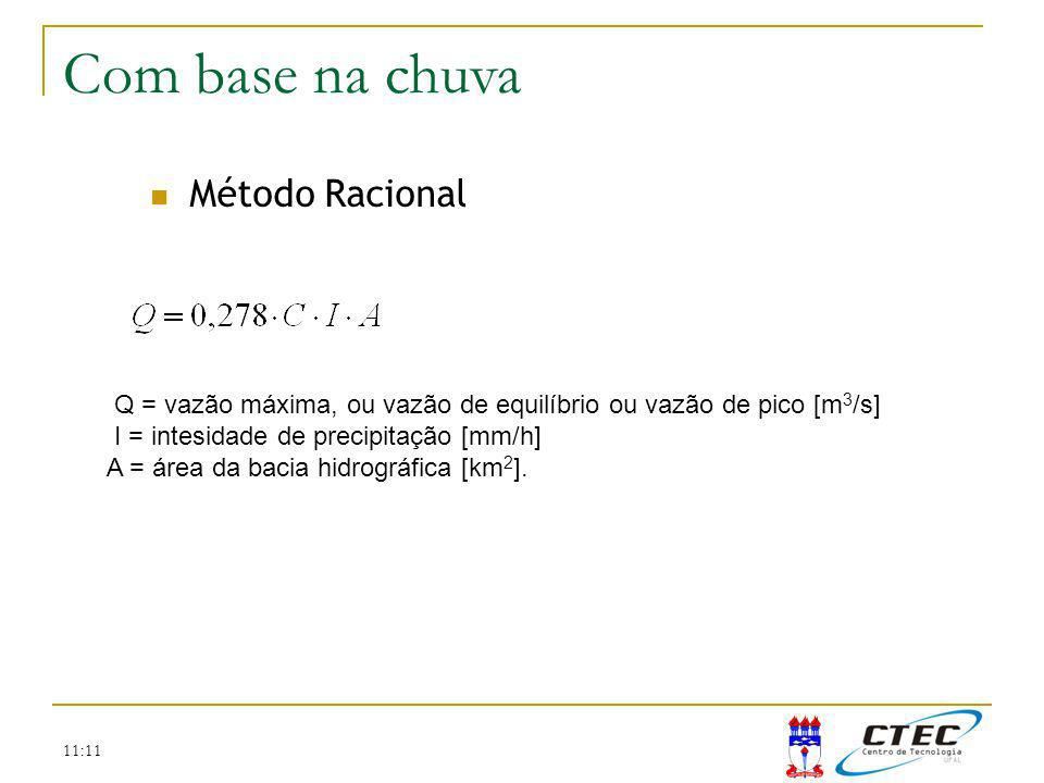 11:11 Método Racional Método SCS Com base na chuva Q = vazão máxima, ou vazão de equilíbrio ou vazão de pico [m 3 /s] I = intesidade de precipitação [