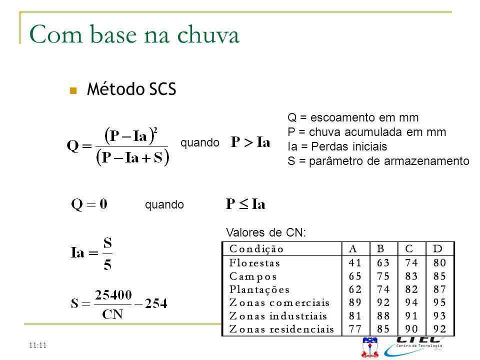 11:11 Método SCS quando Q = escoamento em mm P = chuva acumulada em mm Ia = Perdas iniciais S = parâmetro de armazenamento Valores de CN: Método SCS C