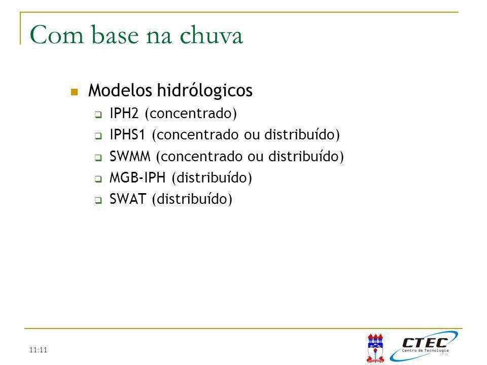 11:11 Modelos hidrólogicos IPH2 (concentrado) IPHS1 (concentrado ou distribuído) SWMM (concentrado ou distribuído) MGB-IPH (distribuído) SWAT (distrib