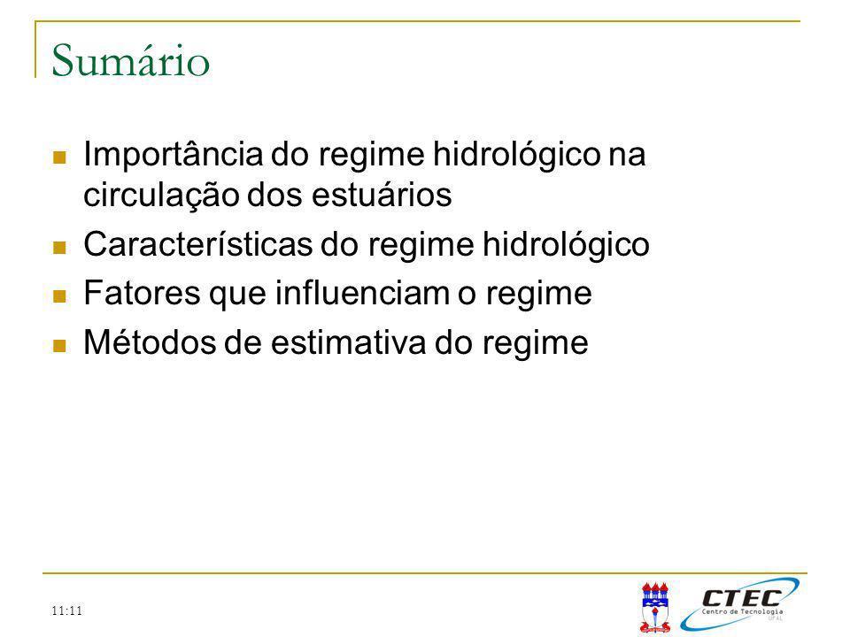 11:11 Sumário Importância do regime hidrológico na circulação dos estuários Características do regime hidrológico Fatores que influenciam o regime Mét