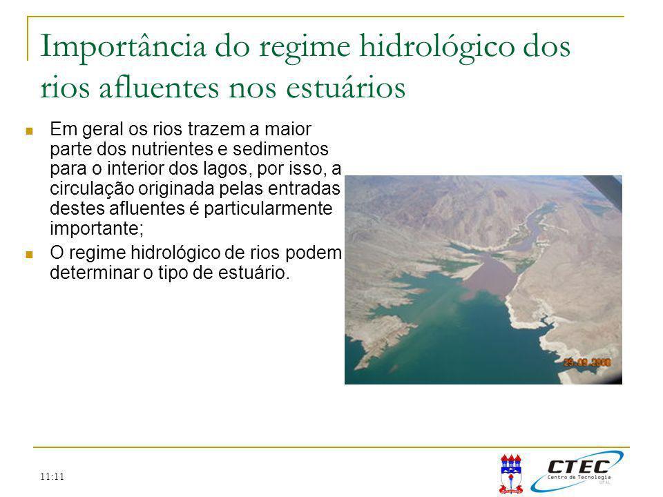 11:11 Importância do regime hidrológico dos rios afluentes nos estuários Em geral os rios trazem a maior parte dos nutrientes e sedimentos para o inte