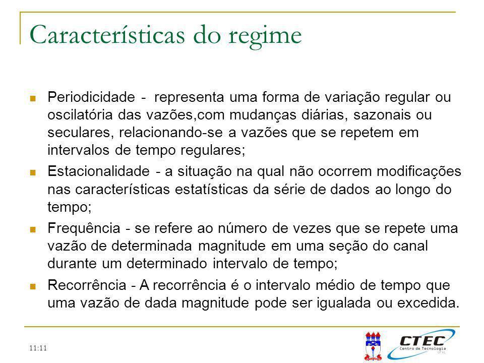 11:11 Características do regime Periodicidade - representa uma forma de variação regular ou oscilatória das vazões,com mudanças diárias, sazonais ou s