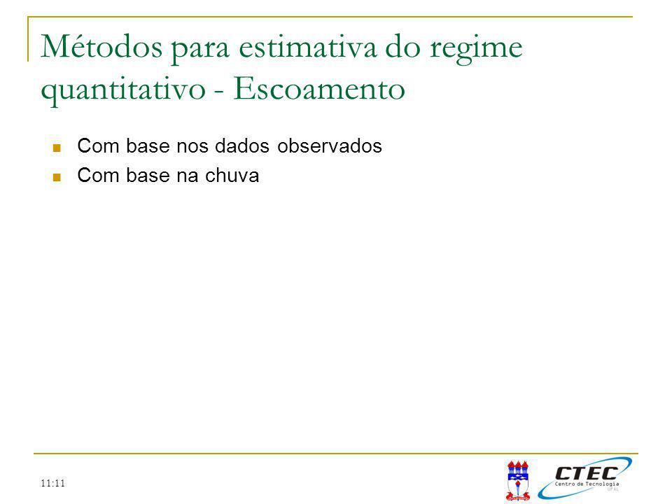 11:11 Métodos para estimativa do regime quantitativo - Escoamento Com base nos dados observados Com base na chuva